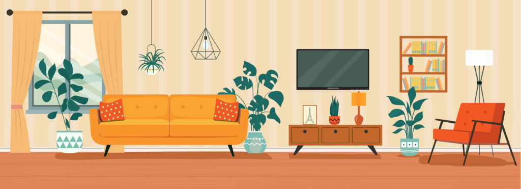 Well decorated living room illustration